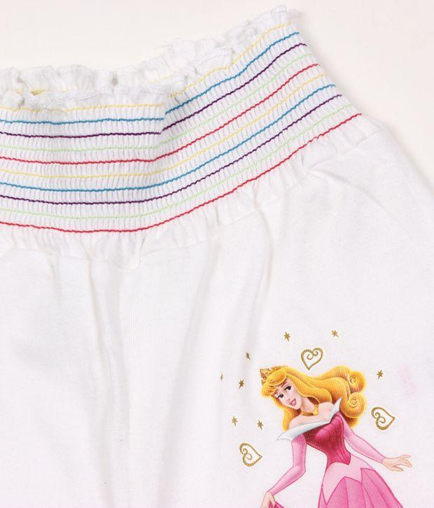 Disney White Cotton Capris For Kids
