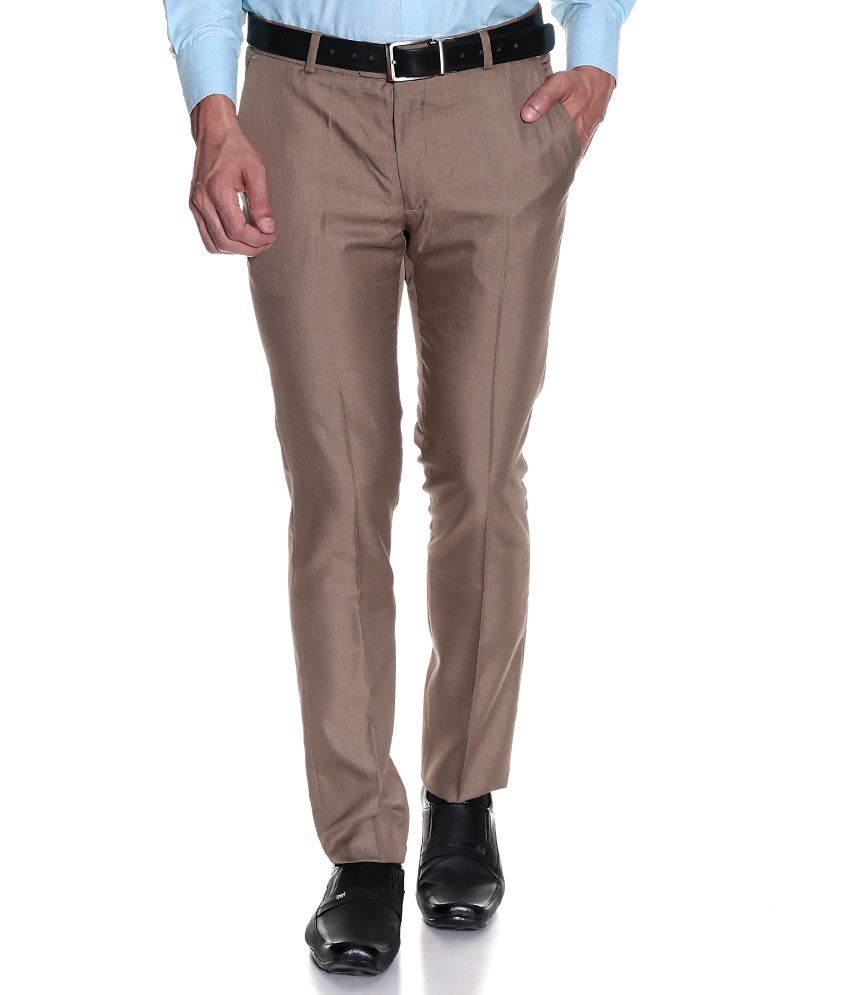 Excalibur Beige Slim Formals Flat Trousers & Chinos