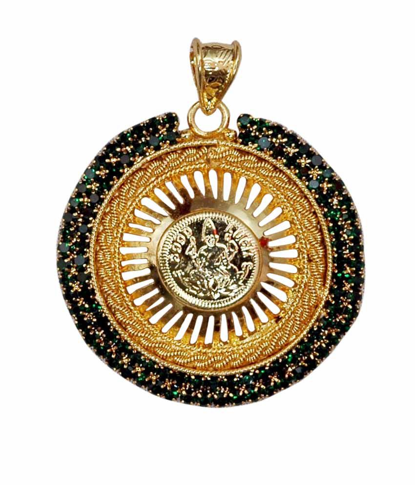 Karigari Online Fashions Pendent With Green Stones
