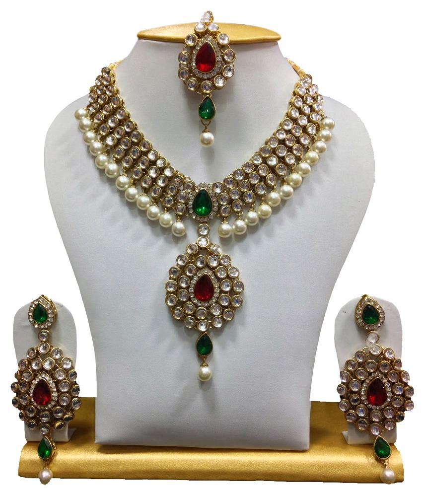 3fc14851606ba Mokanc Dazzling kundan set in Red and Green Stones and Pearls