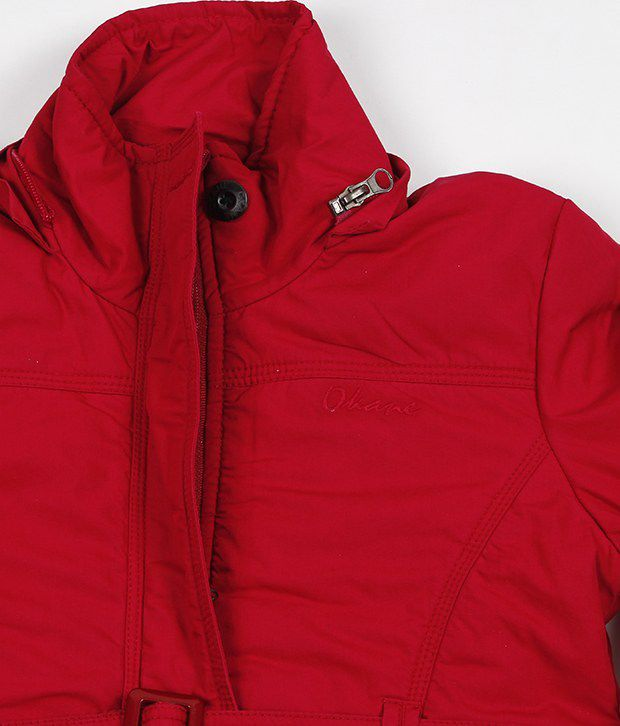 Okane Maroon Hooded Jacket For Kids