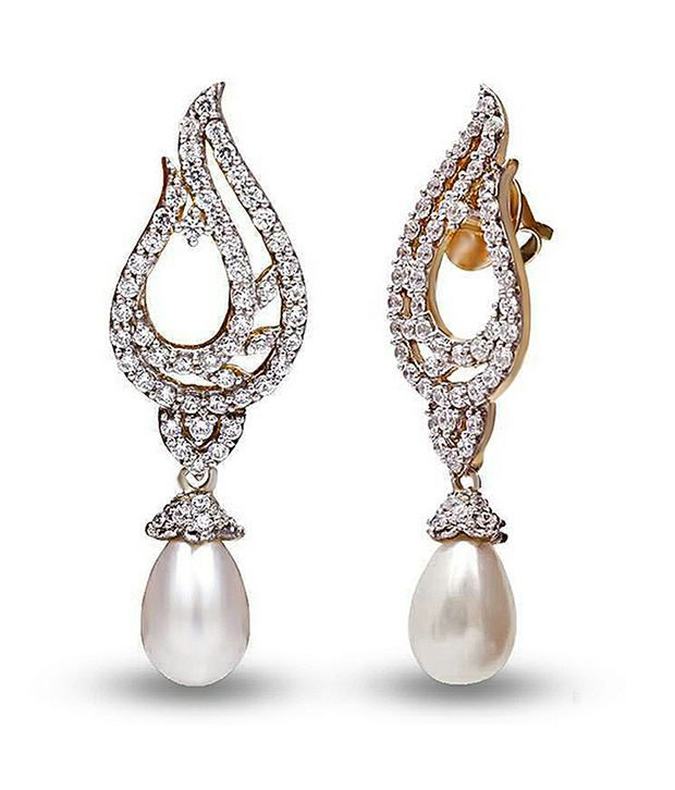 Shashvat Jewels Silver Glamorous Pearl Earrings