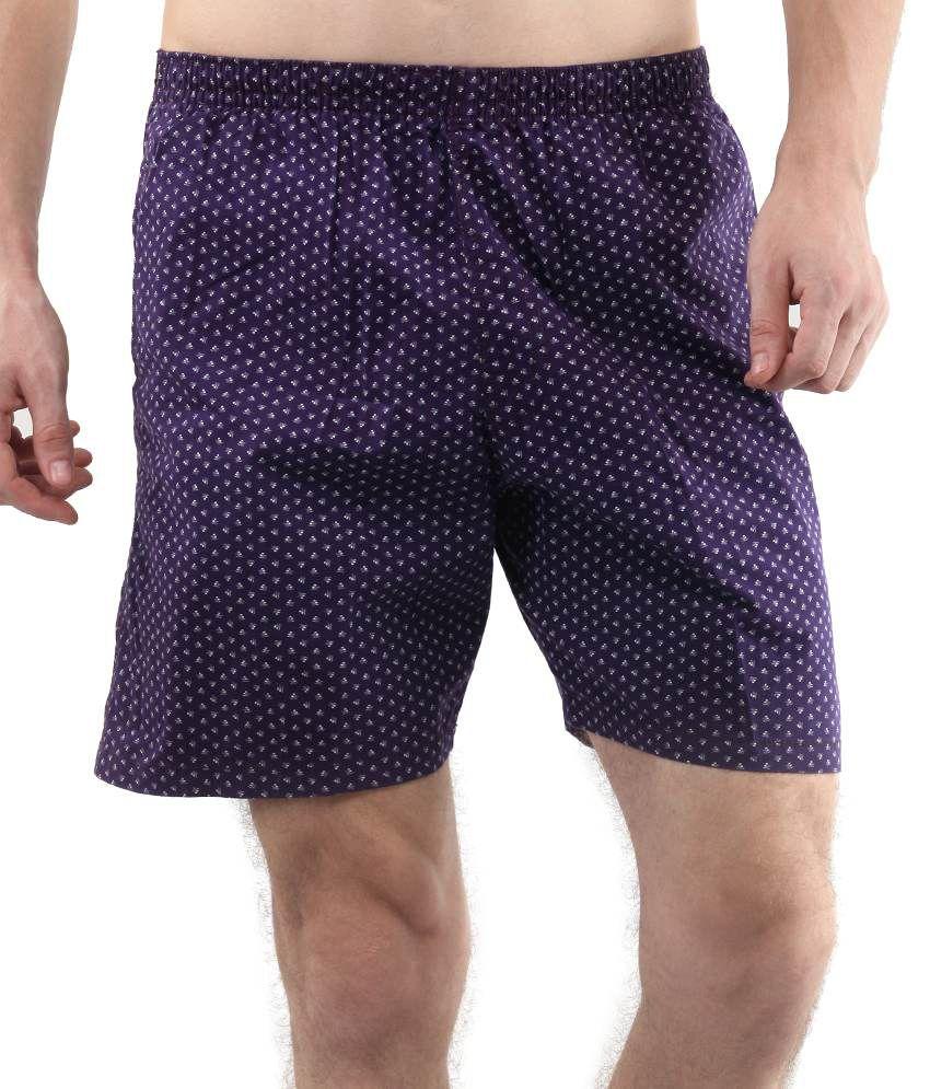 Fort Collins Purple Cotton Solids Shorts