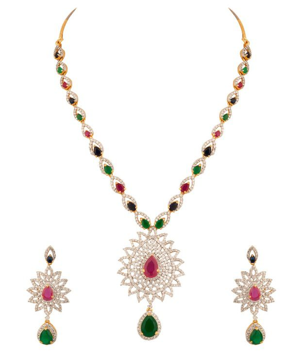 Voylla Necklace Set With Multi Colored Stones