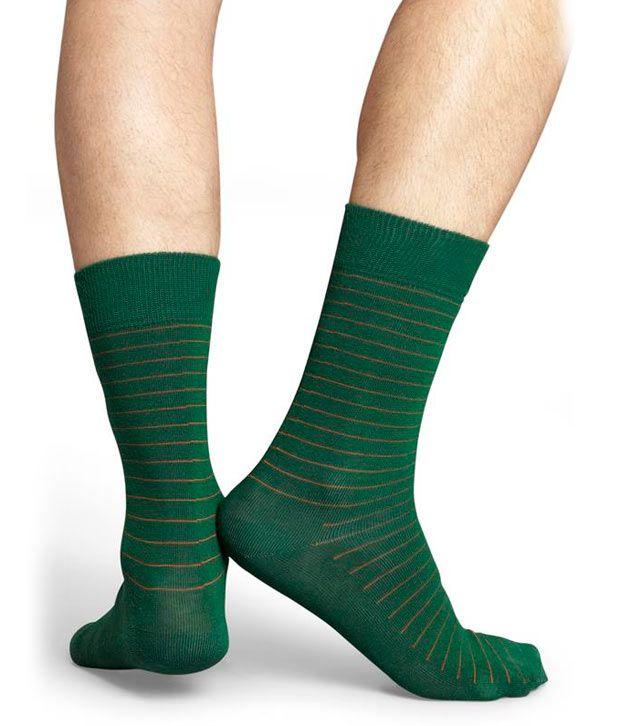 Happy Socks Green Casual Footies Women 1 Pair Pack