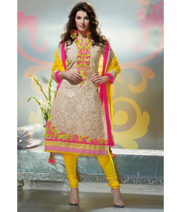 e10533b3b Utsav Fashion Beige and Yellow Cotton Jute Embroidered Dress Material - Buy Utsav  Fashion Beige and Yellow Cotton Jute Embroidered Dress Material Online at  ...