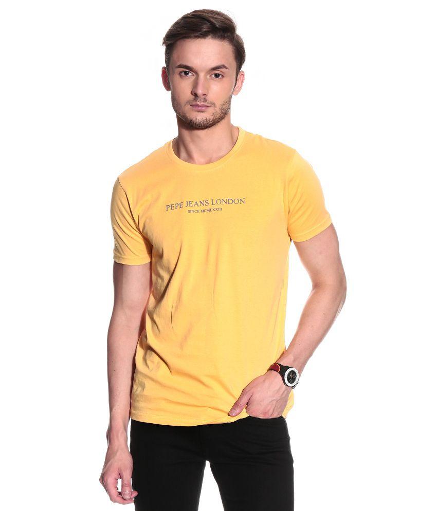 Pepe Jeans Yellow Half Cotton Round T-Shirt