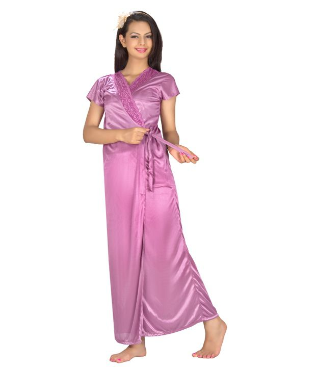 Topshe Purple Poly Cotton Nightsuit Sets