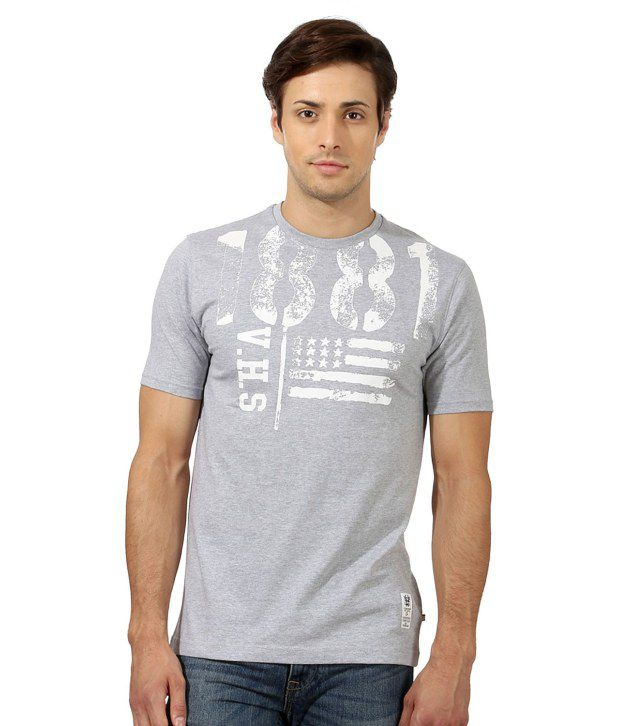 Van Heusen Gray Half Cotton Round  T-Shirt