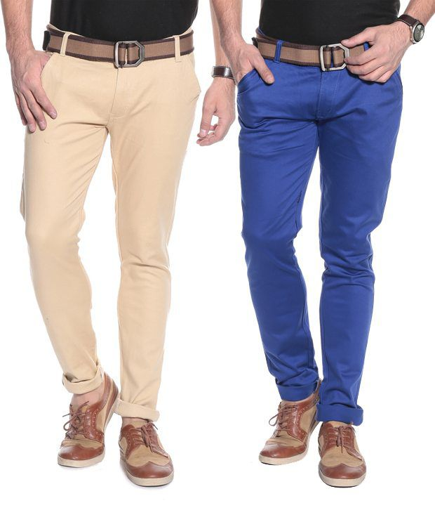 Coaster Combo Of 2 Multi Color Cotton Stretchable Chinos for Men's
