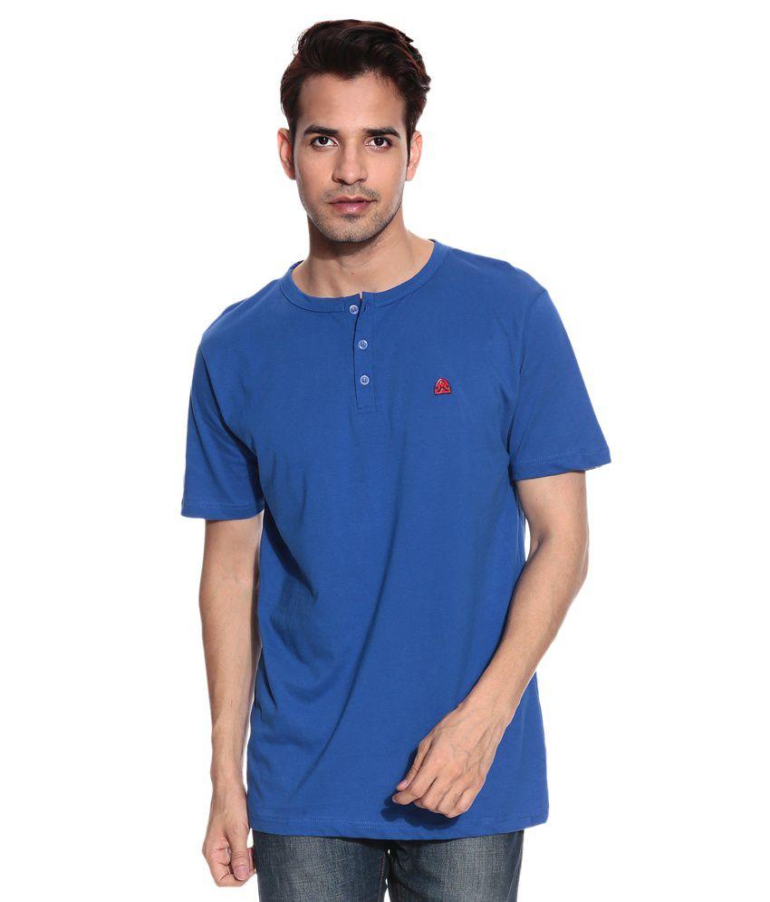Free Spirit Blue Half Cotton Henley T-Shirt