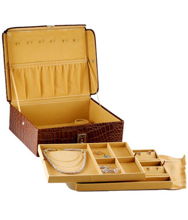 GoGappa Luxurious Extra Large Croc Embossed Leather Jewellery Box (Smoky Topaz) 3-Tiered Interior With Lock & Key