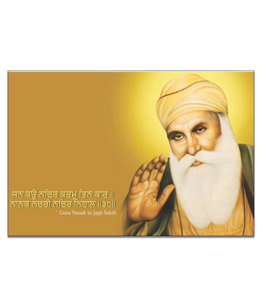 Finearts Guru Nanak Dev Golden Canvas Wall Painting