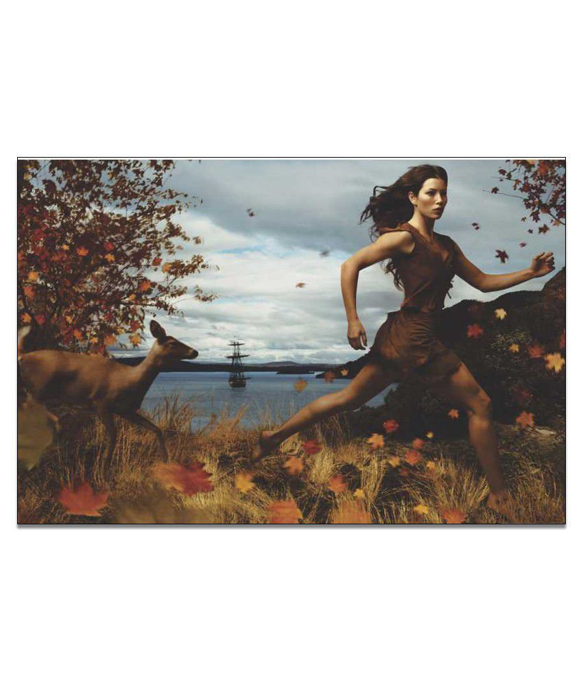 Finearts Running Girl Canvas Wall Painting