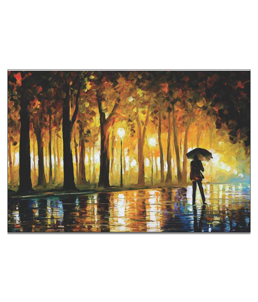Finearts Umbrella Man Canvas Wall Painting