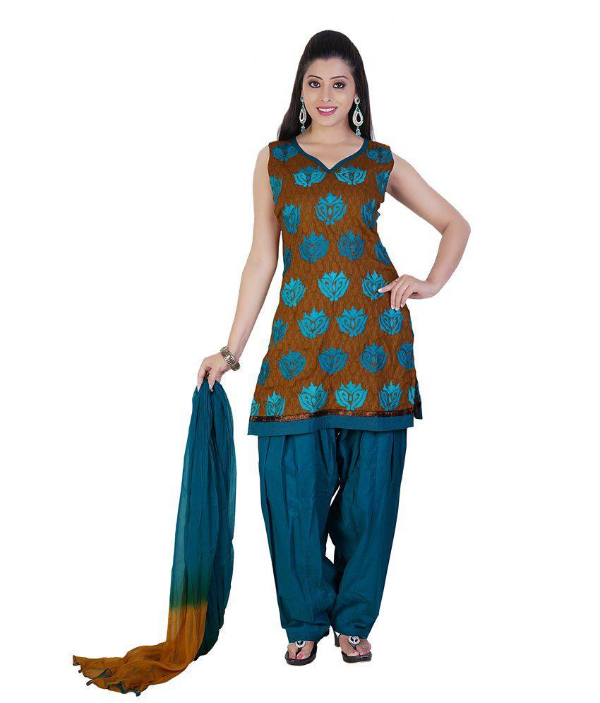 Mint Multi Color Cotton Salwar Suit