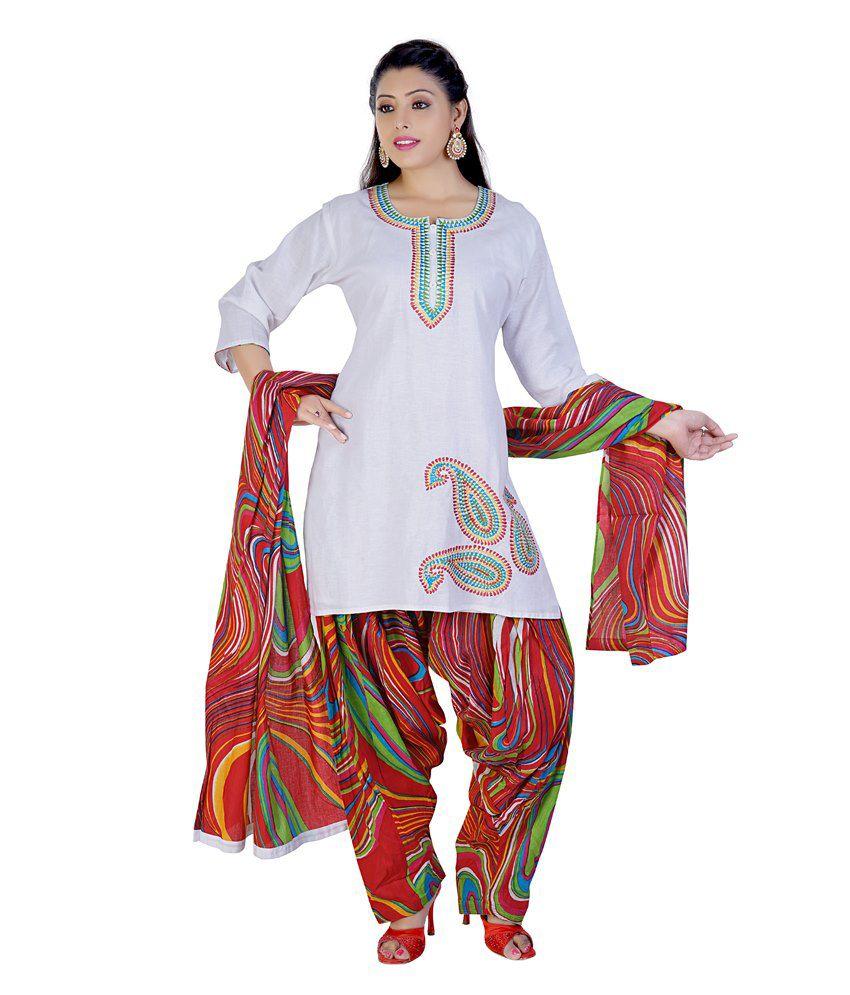 Mint White Cotton Salwar Suit