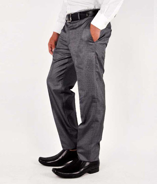 Wills Lifestyle Formal Trousers Gray Formal
