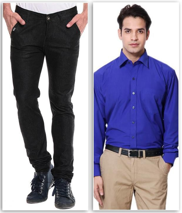 Akaas Black Slim Jeans With Shirt