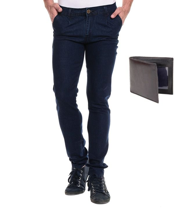 Akaas Navy Slim Jeans With Wallet