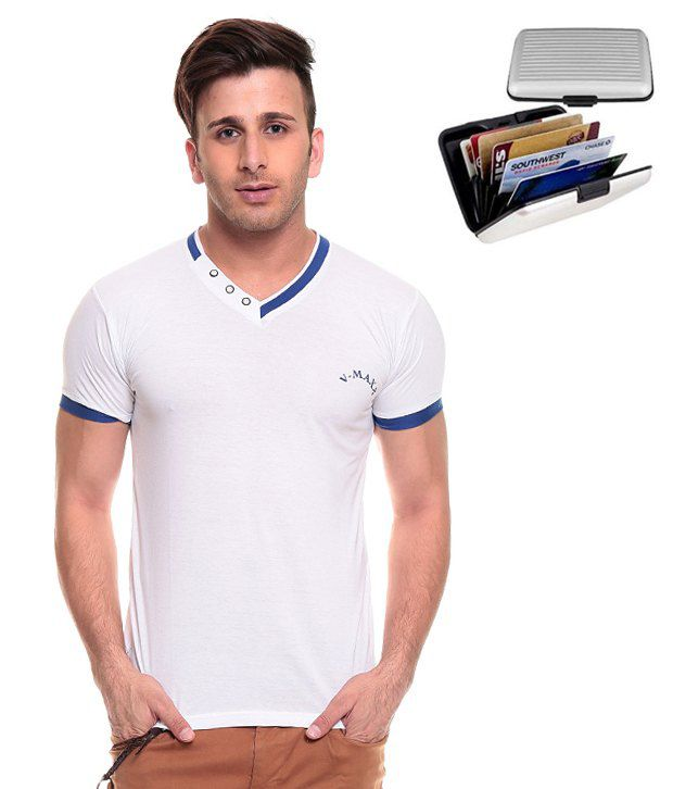 Akaas White Cotton T-shirt (with Card Holder Wallet)