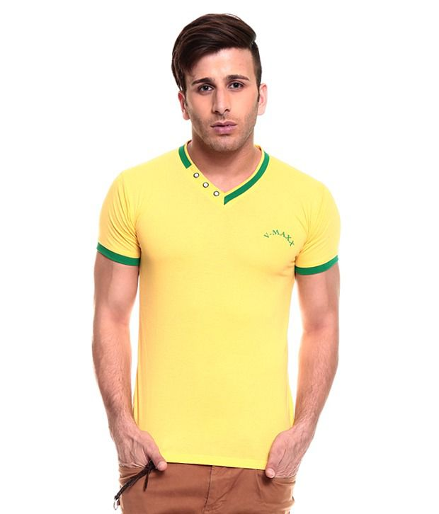 Akaas Yellow Cotton T-shirt