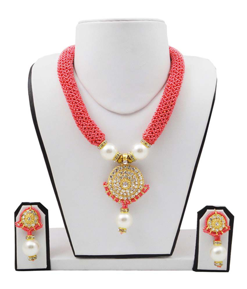 Fashionvalley Pink Coloured Bead Necklace Set
