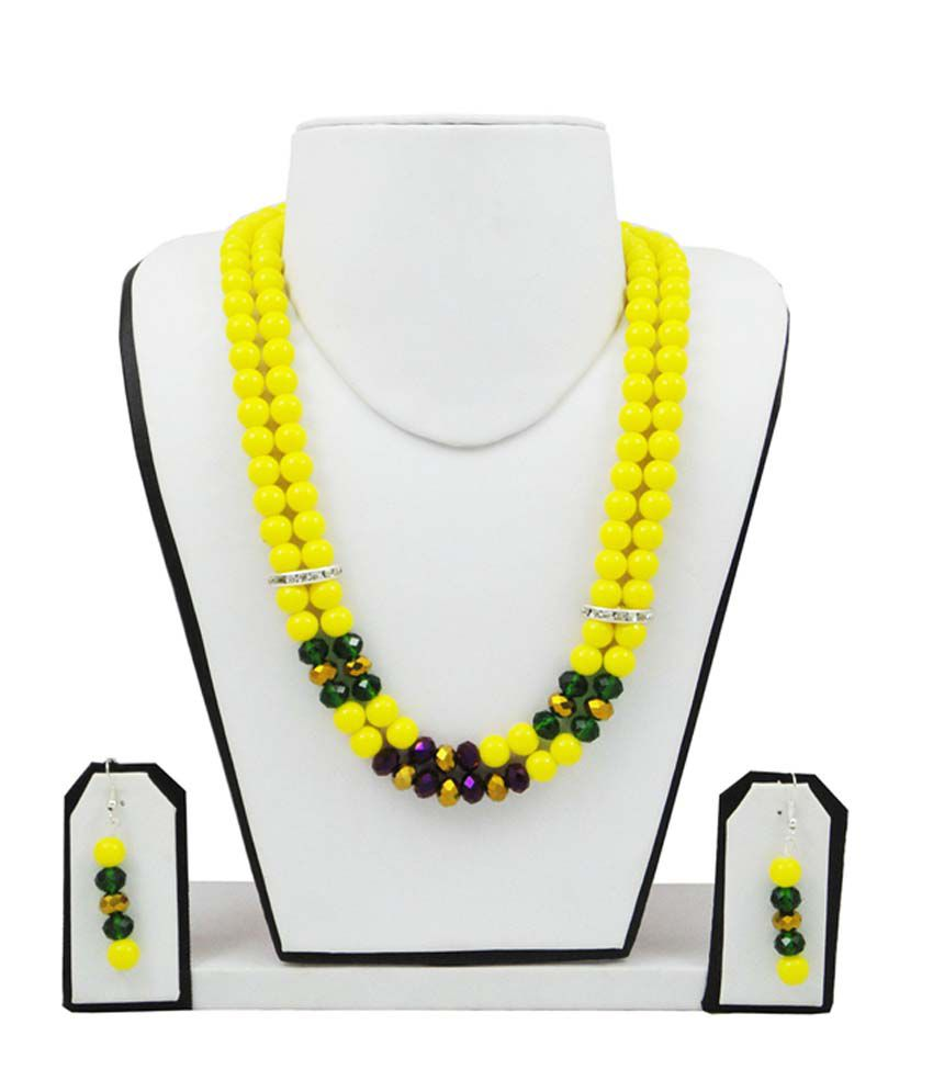 Fashionvalley Yellow Coloured Bead Necklace Set