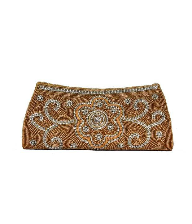 Mokanc Bridal Clutch with Sequins and Crystal Stones in Gold Color