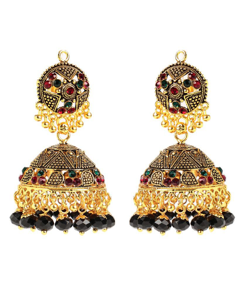 Antique Look Black Beaded Jhumkas by GoldNera