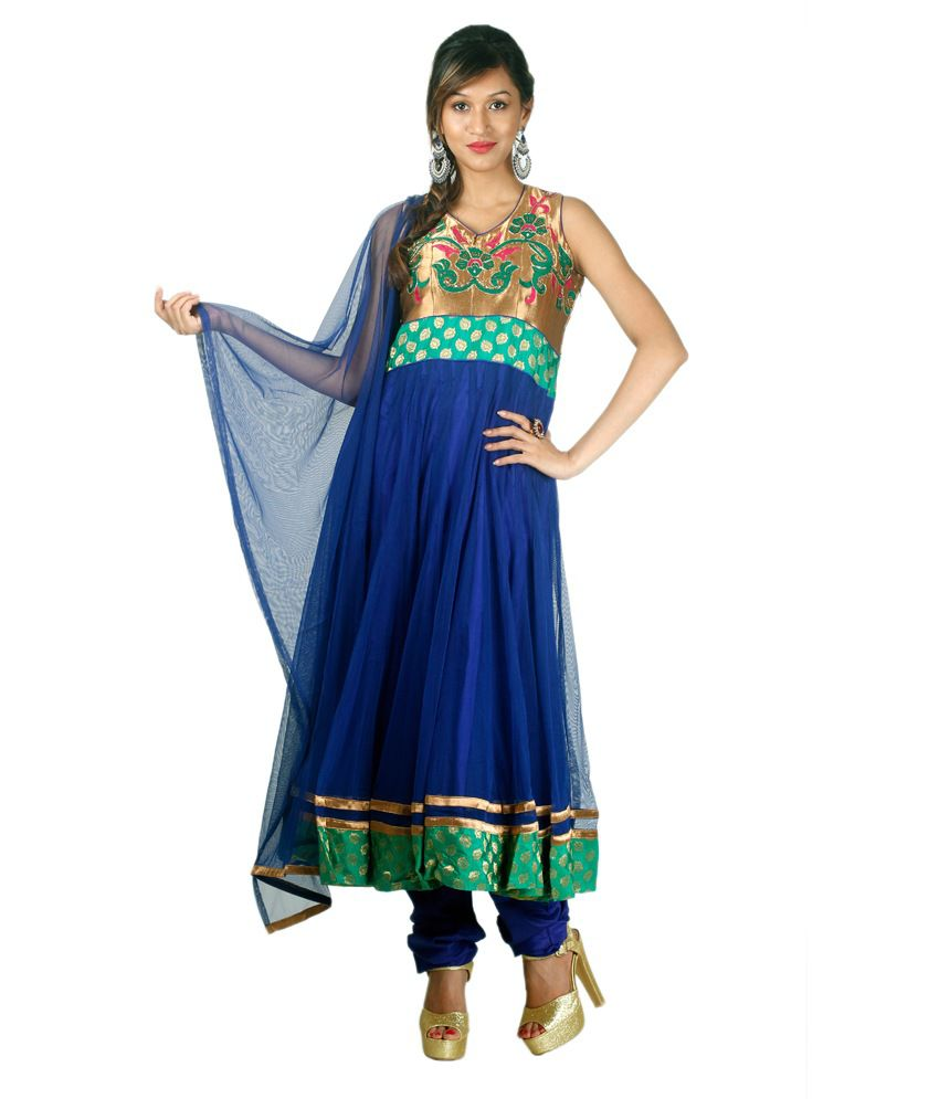 Concepts Blue Net Embroidered Stitched Anarkali Suit