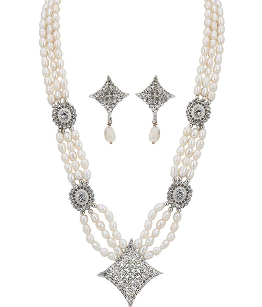 Ddpearls Three Lines Pearls White Cz Set