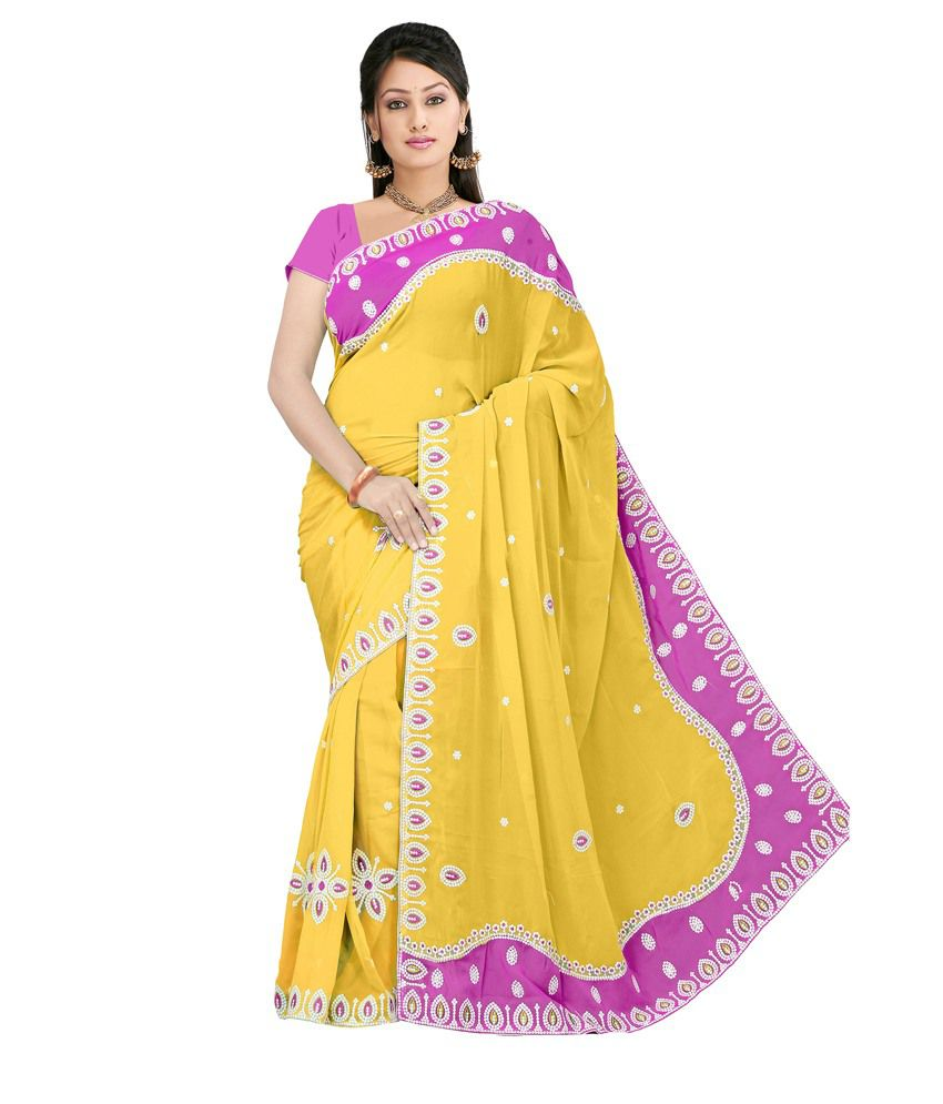 Fashion Founder Indian Designer Stylish Sarika Yellow Saree Buy Fashion Founder Indian