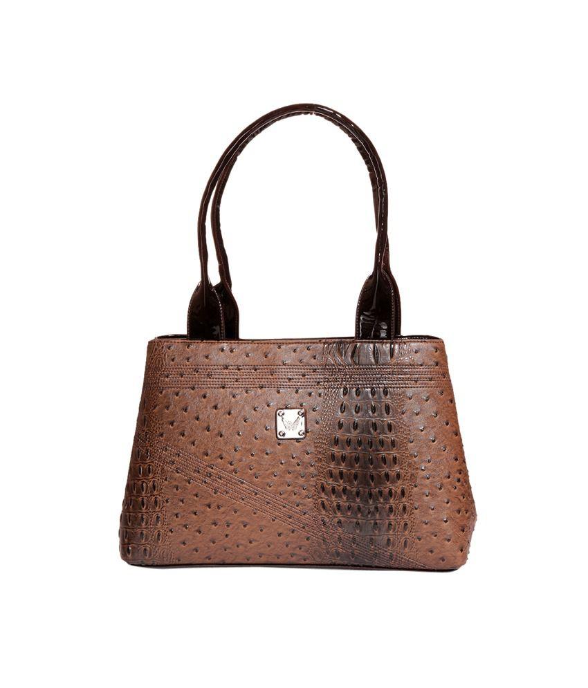 New Pearls Dazzeling Texture Brown Women Handbag