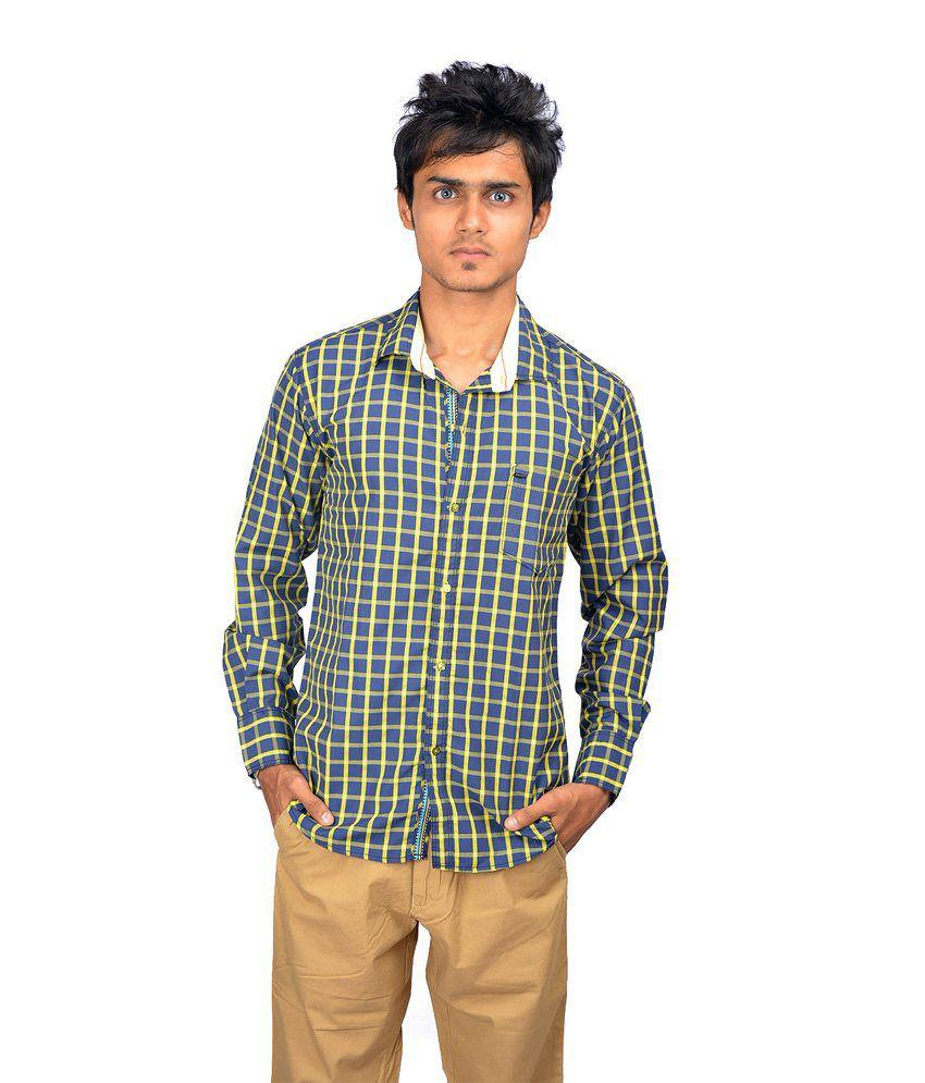 Striker Blue & Yellow Check Causual Shirt