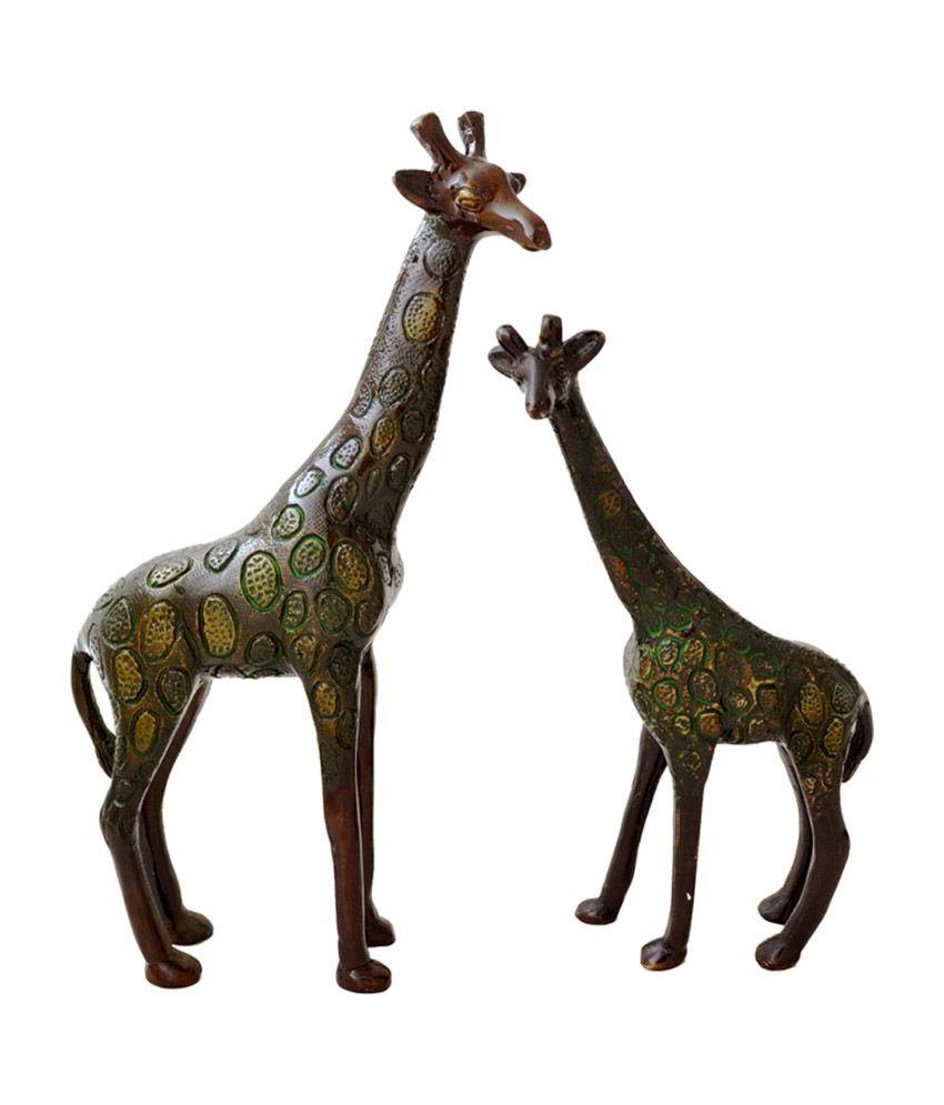 Two Moustaches Brass Giraffe Pair Showpiece (2 Pieces)