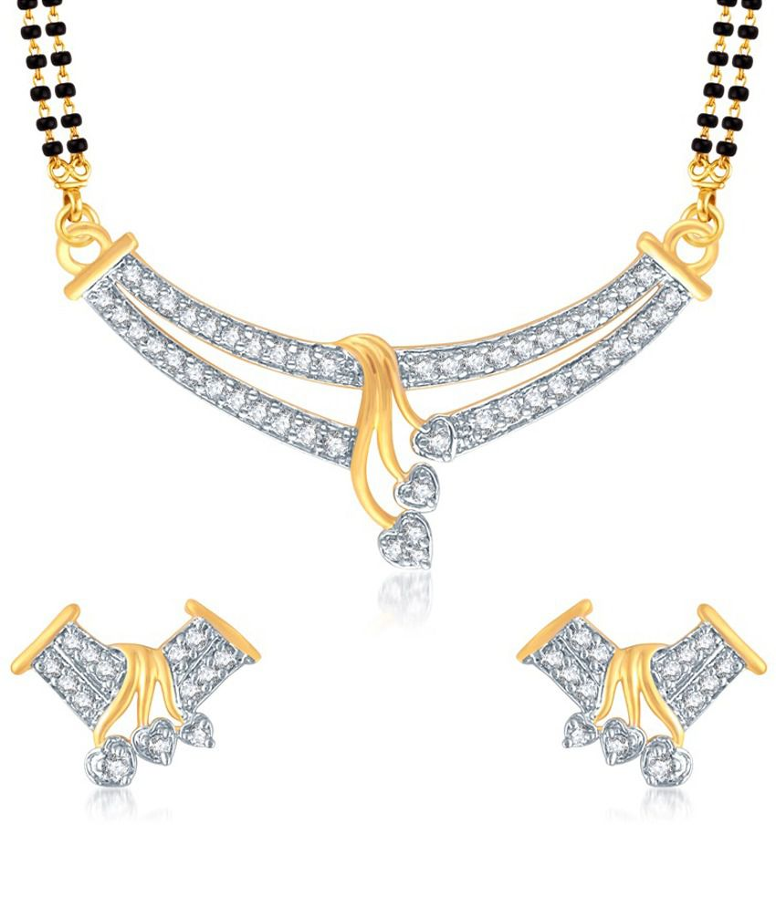 Vk Jewels Shades Of Love Gold And Rhodium Plated Mangalsutra Pendant Set With Earrings
