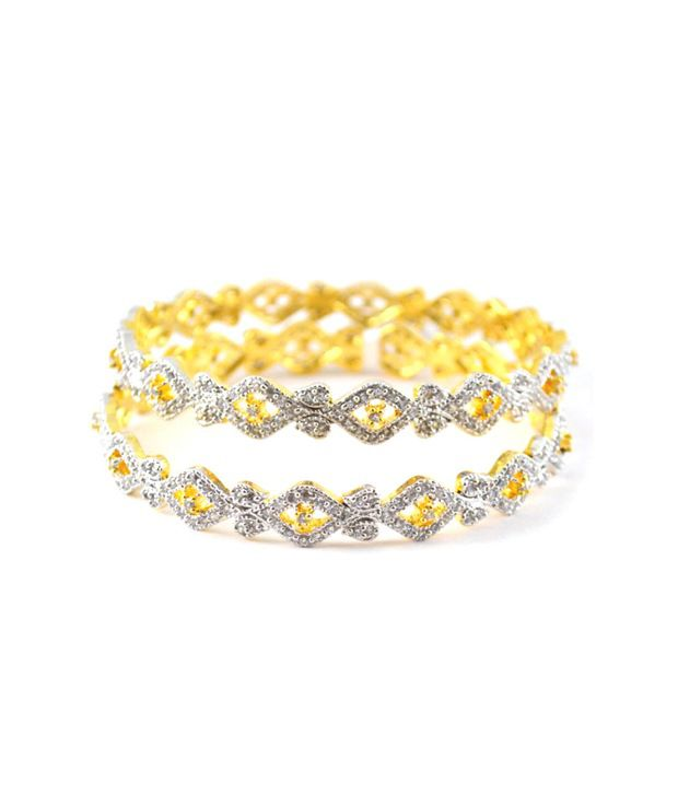 Affinity Classy Gold Plated Cz Bangles For All Occasions