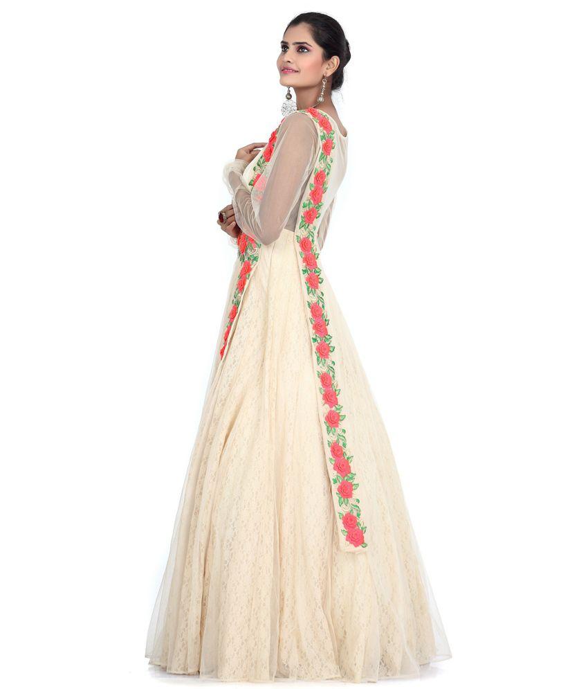 9dc89b4d39 Bawree Beige Floral Net Long Gowns Bawree Beige Floral Net Long Gowns ...