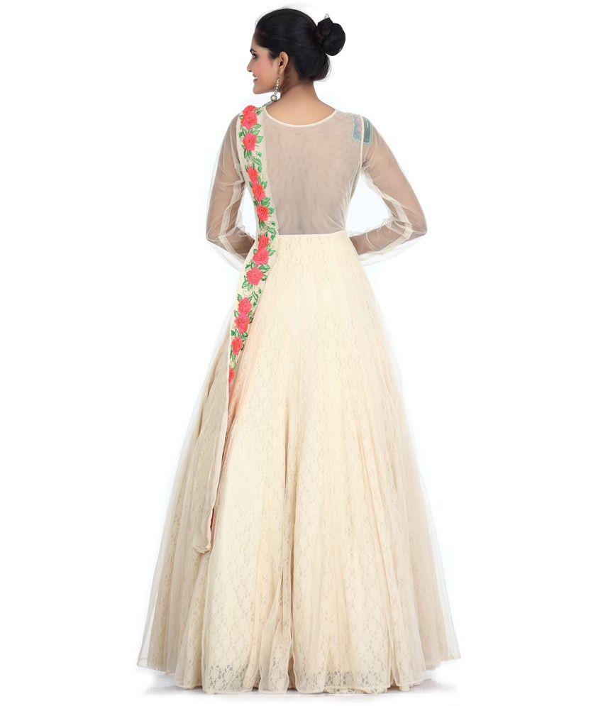 56dfd0dbfa Bawree Beige Floral Net Long Gowns - Buy Bawree Beige Floral Net ...