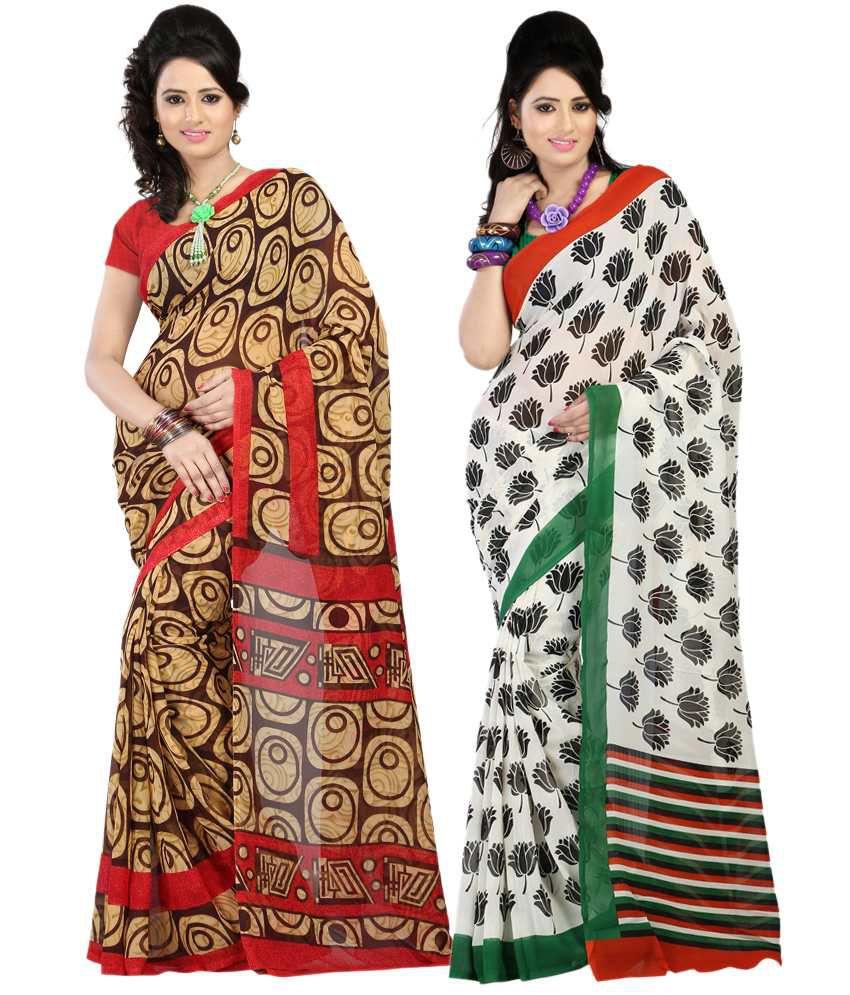 Bunny Sarees Elegant Multi Colour Faux Georgette Pack of 2 Sarees