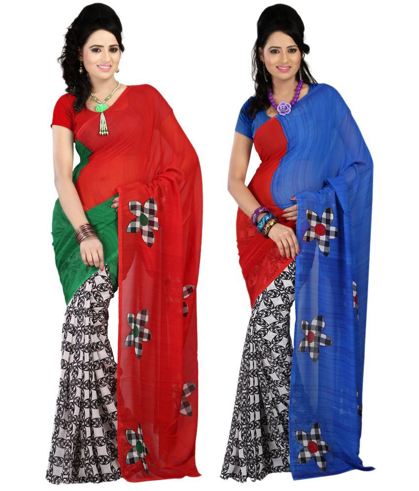 Bunny Sarees Trendy Multi Colour Faux Georgette Pack of 2 Sarees