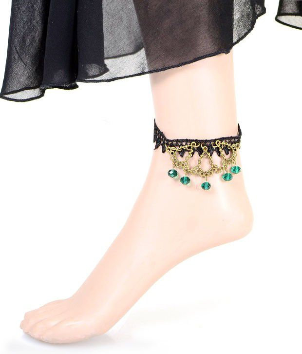 Cinderella Fashion Jewelry  Stunning Green Drops Lace Anklet