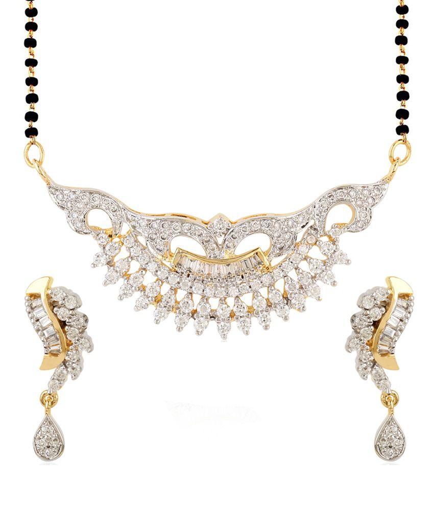 Jewels Galaxy Contemporary American Diamond Mangalsutra Set