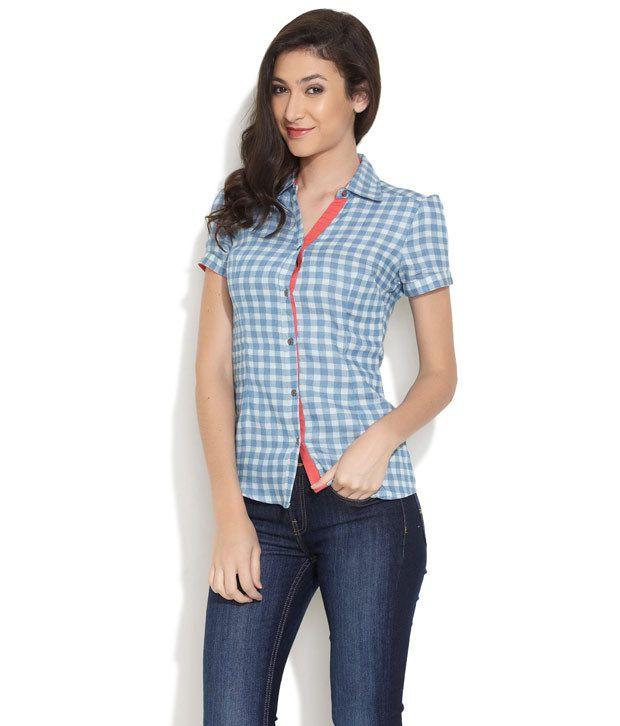 Riot Blue Checks Cotton Regular Collar Shirts