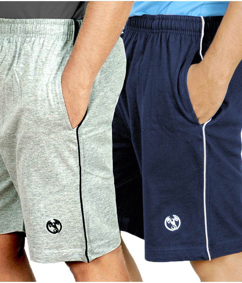 Scorpion Grey melange & Navy Shorts With Piping (Pack of 2)