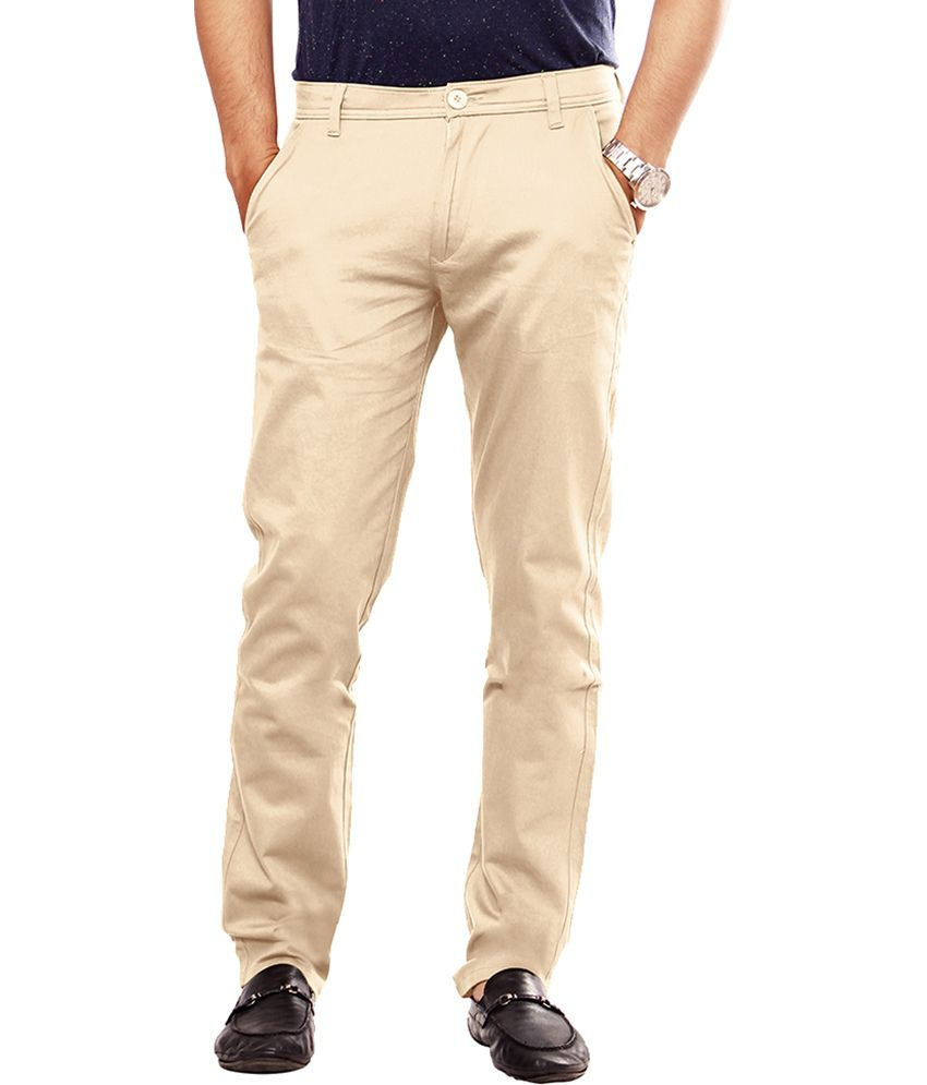 Uber Urban Beige Cotton Lycra Casual Chinos