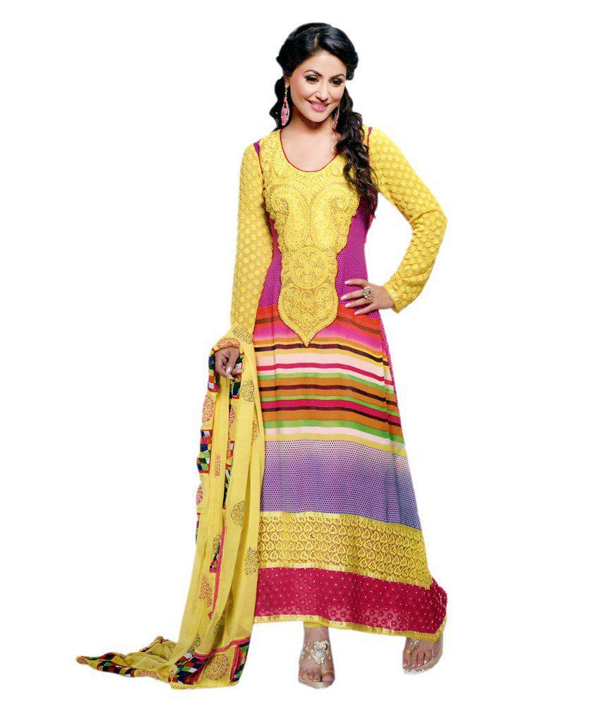 04c061fd10 Zana's Pakistani Style Yellow Embroidered Georgette Designer Unstitched Suit  - Buy Zana's Pakistani Style Yellow Embroidered Georgette Designer  Unstitched ...