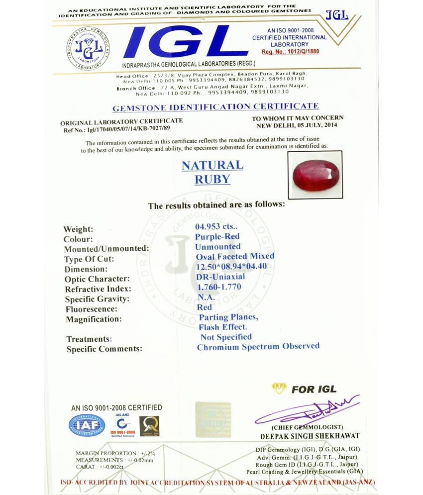 Barishh Gems Shohnratna 5 25 Ratti Manik Ruby Certified Stone