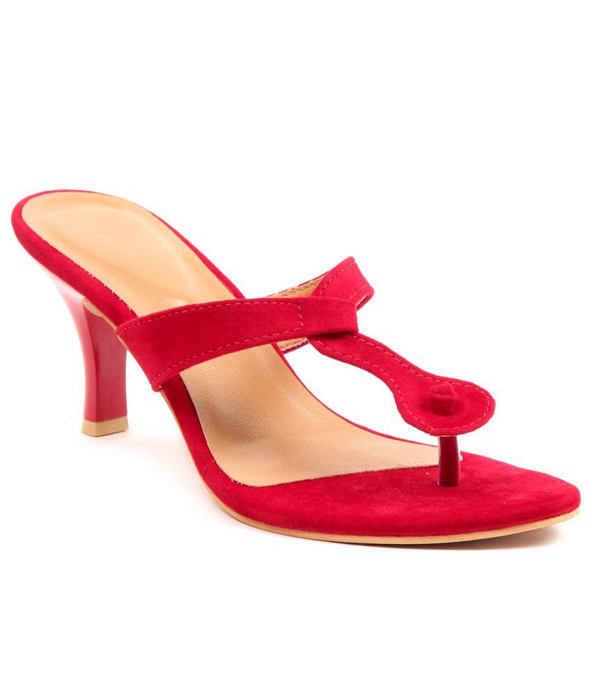 Adorn Red Stilleto Heeled Slip-On